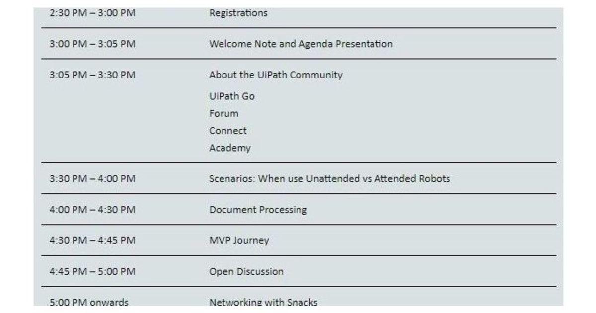 UiPath RPA Community Meetup · Eventil