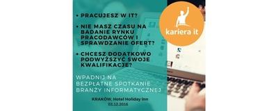 Kariera IT w Krakowie - bezpłatne spotkanie branży IT image